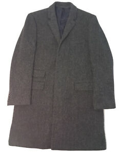 J.Crew Mens Rayon Lining Cloth Ludlow Charcoal Tweed Overcoat Black Size 44R