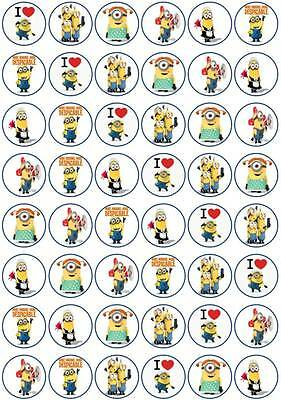 48 x 3 CM MINIONS #2 EDIBLE RICE/WAFER PAPER CUPCAKE/FAIRY CAKE TOPPERS