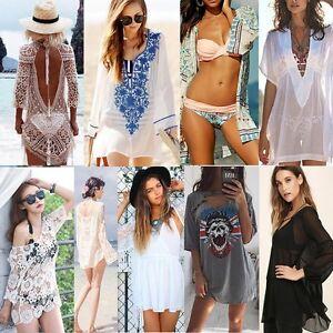 Womens-Swimwear-Bikini-Cover-Up-Beach-Wear-Kaftan-Summer-Loose-Casual-Mini-Dress