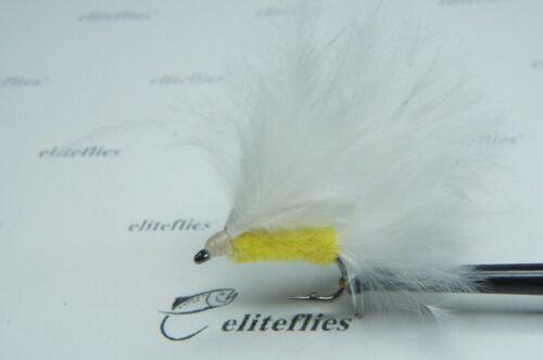 Eliteflies 12 x Competition white cats whisker fly fishing flies lures trout