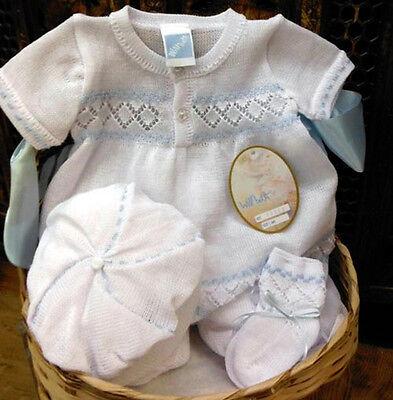 NWT Petit Ami Blue Smocked Bobby Suit 12 18 24 months Baby Boys Jon Jon Romper