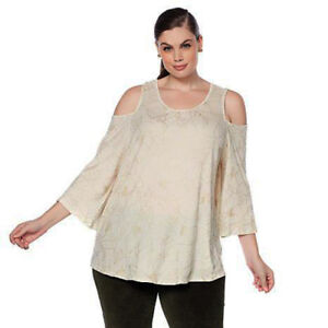 576edd7a6cb957 Lucky Brand Womens 1X Plus Gold Metallic Floral Cold Shoulder Top ...