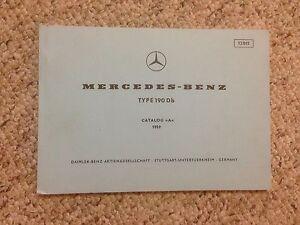 1959 Mercedes Benz 190Db 190 Db Parts Catalog Manual W121
