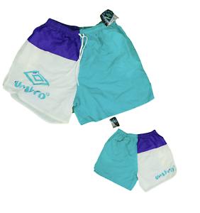 NOS-Vintage-90s-Umbro-Mens-XL-Color-Block-Spell-Out-Nylon-Jogging-Soccer-Shorts