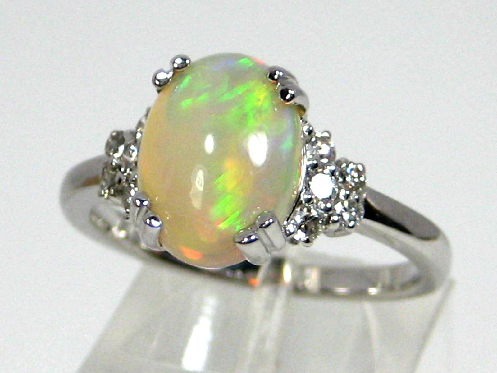 Welo Opal Ring 14K White gold Solitaire Ethiopia Heirloom 5 color Natural  2,361