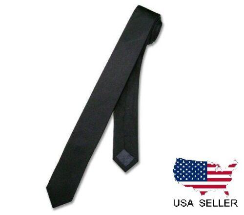 """NEW Men Boy Black Skinny Slim Retro Tie Narrow 2/"""" Wide Thin Necktie Solid Color"""