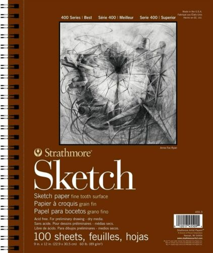 """Strathmore 455-3 400 Series Sketch Pad 9/""""x12/"""" Wire Bound 100 Sheets Heavyweight"""