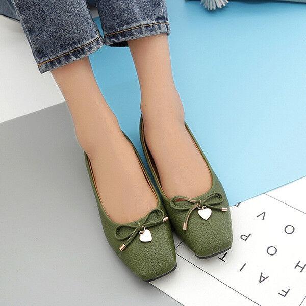 Ballerinaschuhe Mokassins Schuhe Grün Elegant Leder Kunststoff 2.5 X Komfortabel