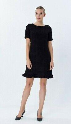 Explosion London Black Round Neck Short Sleeve Dress Uk Size 10 Vr182 013