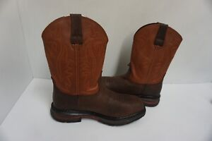 252ae9c6827 Details about Mens Wolverine leather boots steel toe javelina dark brown  and brown size 8 us
