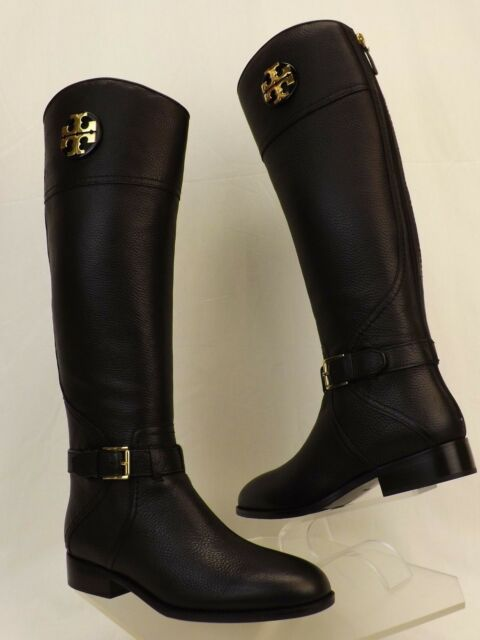 7b6da61516d NIB TORY BURCH ADELINE BLACK TUMBLED LEATHER REVA WIDE CALF RIDING ZIP BOOTS  6.5