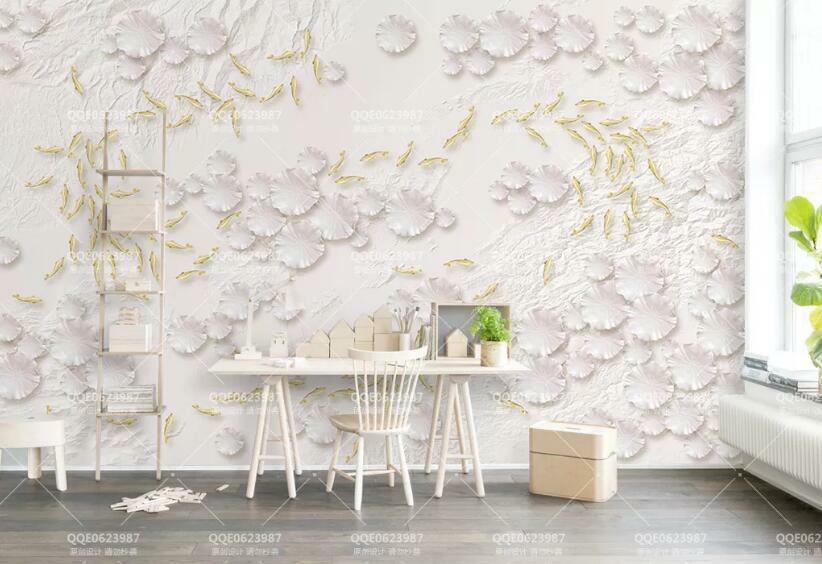 3D Fisch Lotusblatt H978 Tapete Wandbild Selbstklebend Abnehmbare Aufkleber Wend