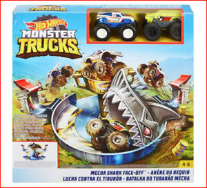 Hot Wheels Monster Jam Mecha Shark Face Off Set 2 Trucks 2 Launchers New Ebay