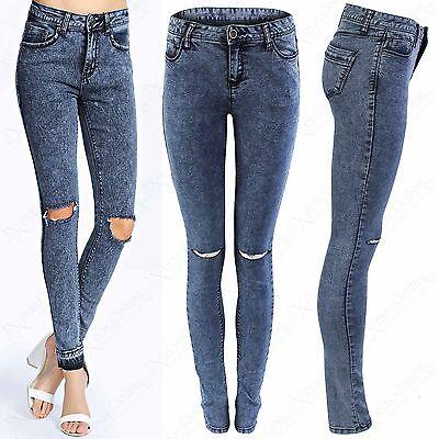 New Ladies Acid Wash Ripped Skinny Jeans Womens Blue Denim Stretch Fit Rip Pants Einen Effekt In Richtung Klare Sicht Erzeugen