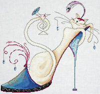 Cross Stitch Kit Design Works Fashionista Martini Cat On Shoe W/drink Dw2745