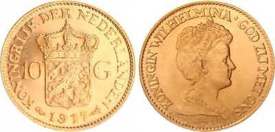 Sonnig Niederlande 10 Gulden Gold 1917, Wilhelmina, Prägefrisch (1)