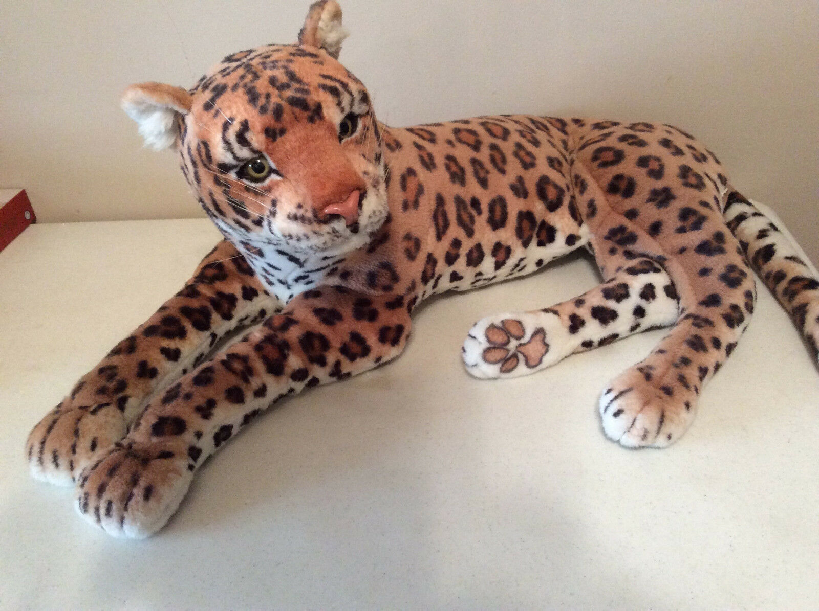 Large Plush Toy Leopard  Realistic Big Cat Soft Pillow 32  Long With Out Tail