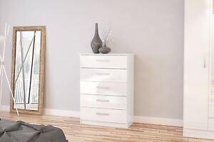 Birlea Lynx High Gloss All White 5 drawer midi chest bedroom