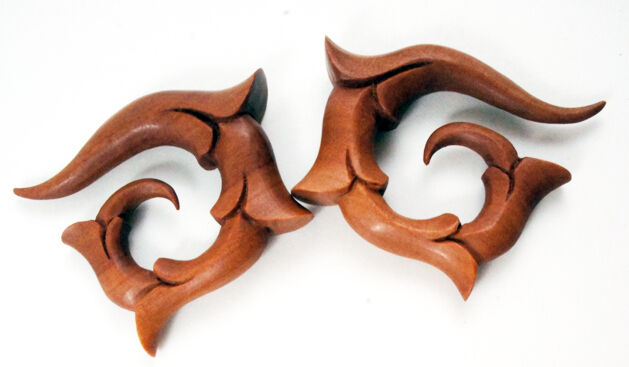 Pair Handmade Sawo Wood Tribal Circular Vine Curled Spiral Taper Gauges NEW USA