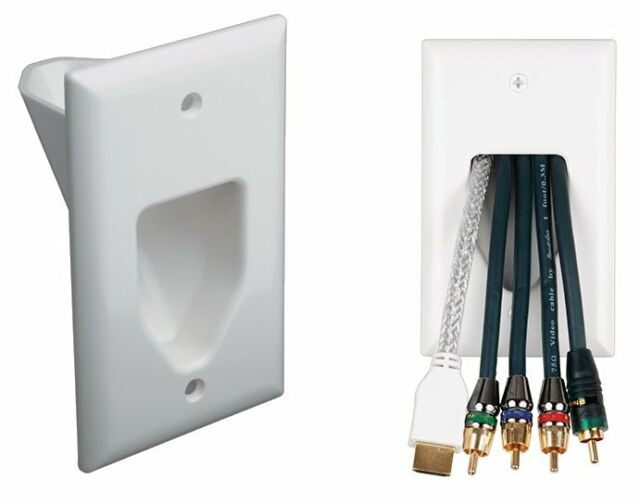1-Gang Recessed Low Voltage Wall Plate Pass Through HDMI Speaker Video Cable