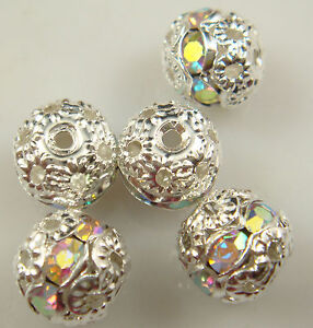 8mm-5pcs-Czech-white-AB-Crystal-Rhinestone-Silver-Rondelle-Spacer-Beads-nw15d