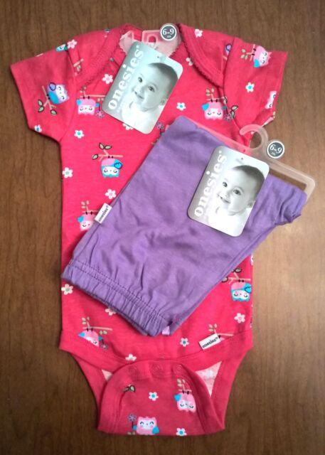 Gerber Baby Girl Onesie & Pants  SZ: 6-9 Mon Pink Owls New Shower Gift Free Ship