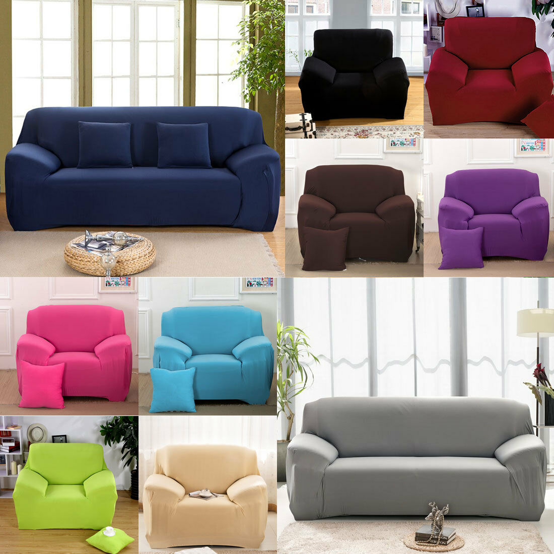 easy fit stretch sofa slipcover stretch protector seater. Black Bedroom Furniture Sets. Home Design Ideas