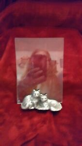 Burnes of Boston 5x7 or 4x6  Picture Frame Pewter Cats and 2 Glass Sides