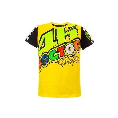 Yellow  264001 VR46 Valentino Rossi Moto GP the Doctor Zip Kids T Shirt Black