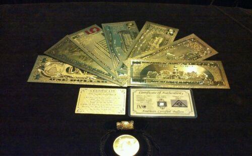 ~LUCKY 11Pc.LOT~SILVER BAR+COIN+$1,2,5,10,20,50,$100 BANKNOTE REPS.*W//COA+FLAKEz