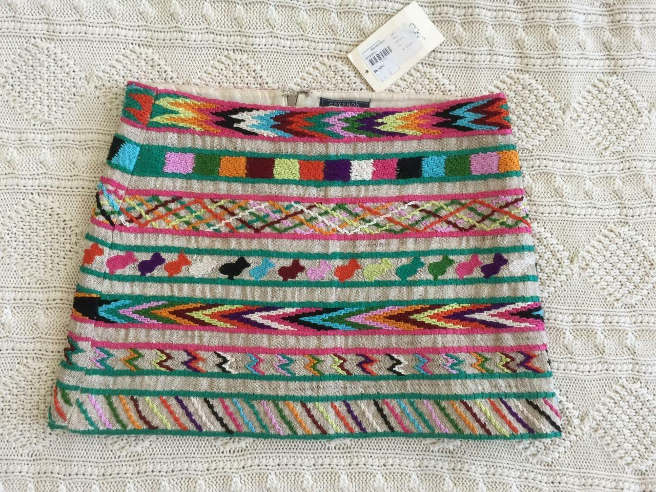 GRYPHON Womens Multi-color Embroidered Pattern Mini Micro Skirt XS NEW  359