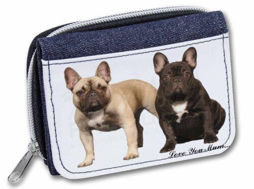 French Bulldogs /'Love You Mum/' Girls//Ladies Denim Purse Wallet Chr AD-FBD1lymJW