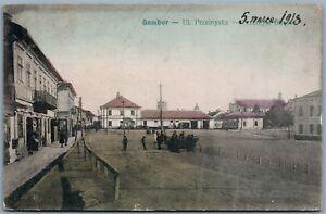 SAMBOR-POLAND-UKRAINE-LVOV-REGION-UL-PRZEMYSKA-1918-ANTIQUE-POSTCARD