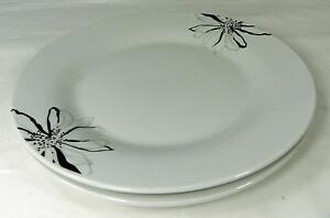 Image is loading 2-Dinner-Plates-Black-&-White-Flowers-Graydon- & 2 Dinner Plates Black u0026 White Flowers Graydon Hall 10.5