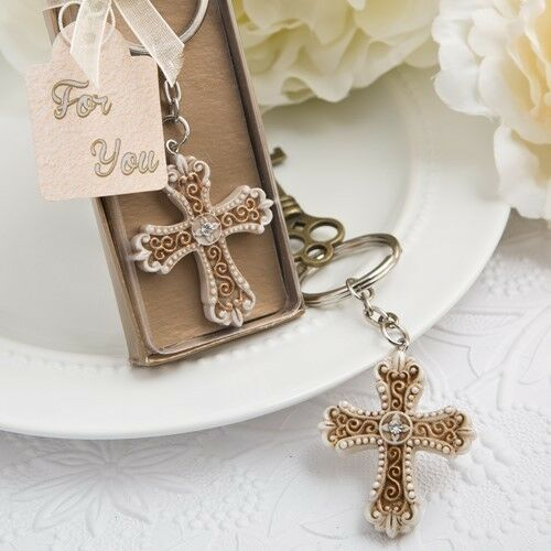 60 Vintage Gold Cross Keychain Christening Baptism Shower Religious Party Favors