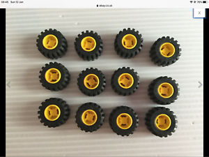Lego 12 ruedas de construcción ciudad Amarillo 11mm X 12mm con neumáticos Offset pisada 6015