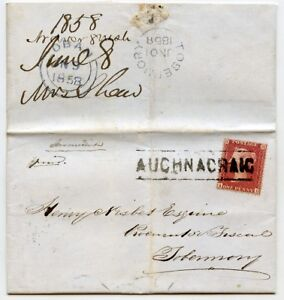 1858 cover with 1d rosered tied by the 034Auchnacraig034 Type III Scots Local hs - Oakhanger, United Kingdom - 1858 cover with 1d rosered tied by the 034Auchnacraig034 Type III Scots Local hs - Oakhanger, United Kingdom