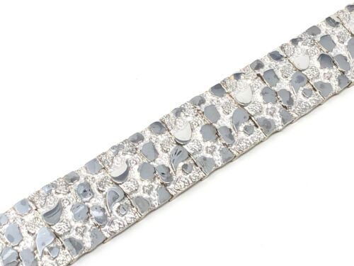 """Sterling Silver Solid Nugget Bracelet Adjustable 8.25/"""" 21mm 51.5 grams"""