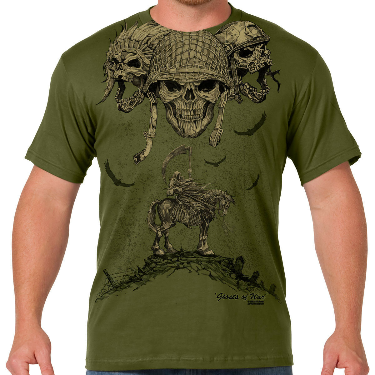 7.62 DESIGNS GHOSTS OF WAR T SHIRT CLOTHING FOR PATRIOTS AND MEN OF ARMS MEN'S