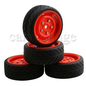 4 Pieces RC1:10 Drift Car Parallel Stripe Tire /& Black 5 Hole Wheel Rims