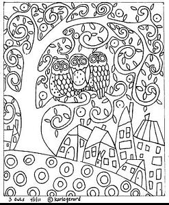 RUG-HOOKING-CRAFT-PAPER-PATTERN-3-Owls-FOLK-ART-PRIMITIVE-Abstract-Karla-Gerard