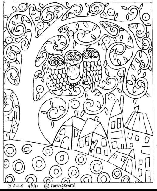 RUG HOOKING CRAFT PAPER PATTERN 3 Owls FOLK ART PRIMITIVE Abstract Karla Gerard