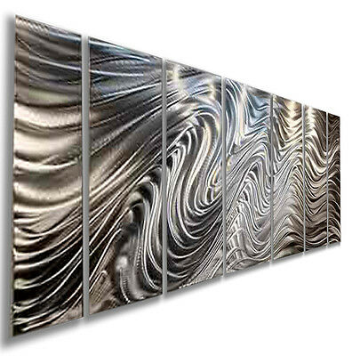 Silver Modern Abstract Metal Wall Art Office Decor by Jon Allen - Hypnotic Sands