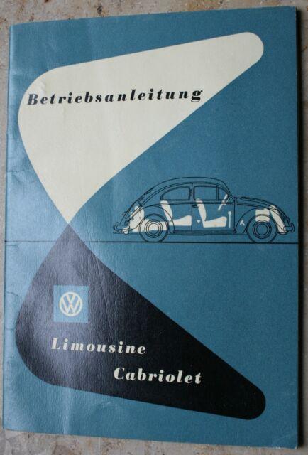VW Käfer Limousine Cabrio Betriebsanleitung Bedienungsanleitung 1952