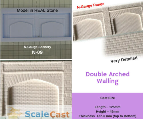 N09 N-Gauge TWIN STONE ARCHES Mould for Model Railway scenery N Scale