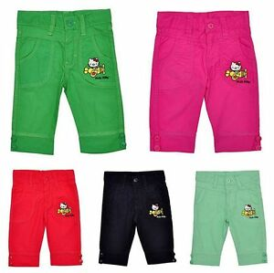 13aff107f Girl's Official Hello Kitty Applique Bright Capri Cotton Pants Sizes ...