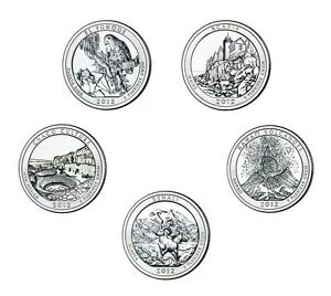2012-S-25C-Minted-BU-State-Park-Quarters-With-S-Mint-Mark-5-Total