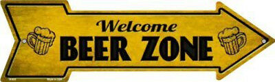 """The Man Cave Beer This Way To Arrow Sign Directional Novelty Metal 17/"""" x 5/"""""""