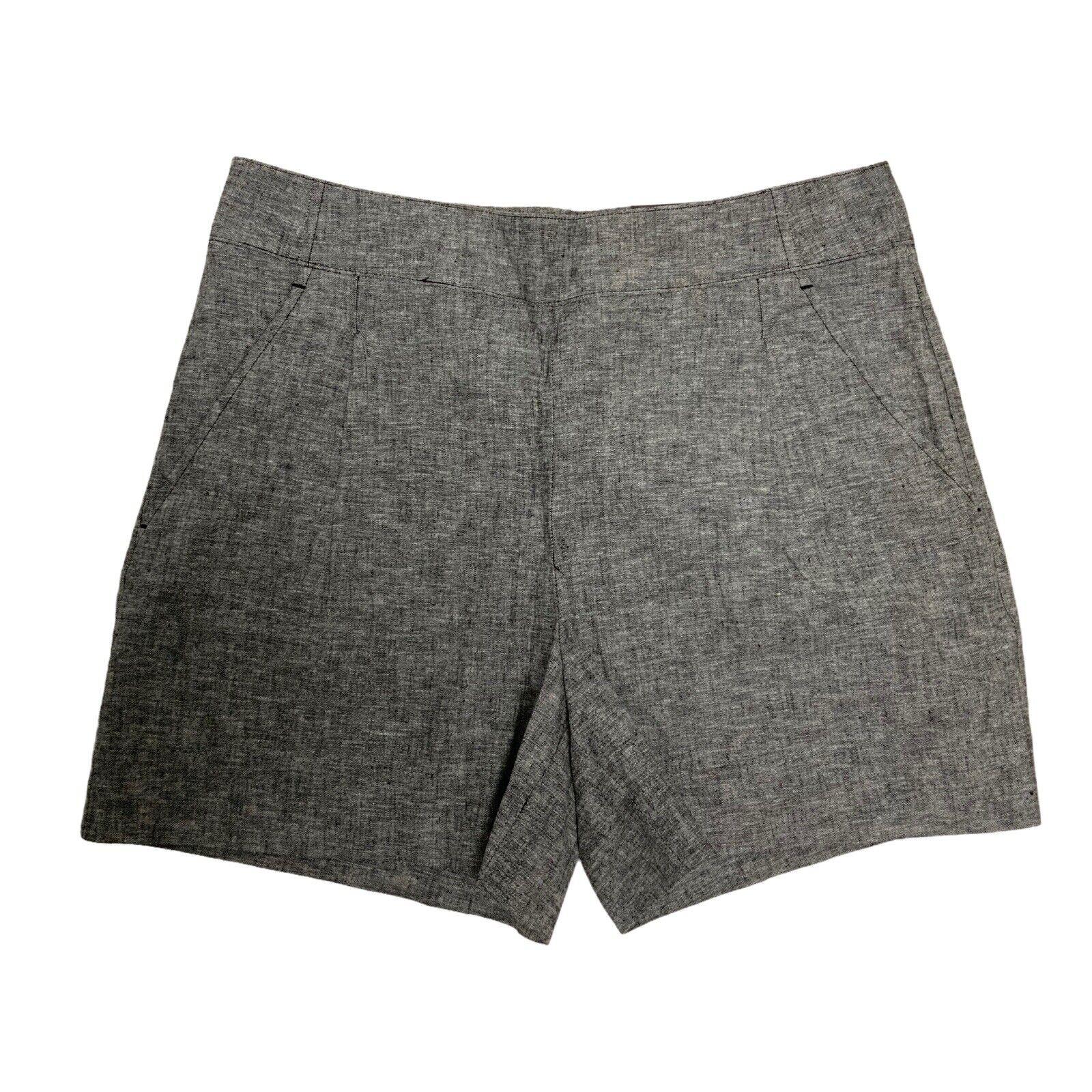 Apt 9 Damen Shorts Mid-Rise Gerade Leinen Grau Hineinschlüpfen Größe M
