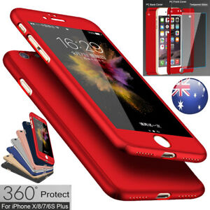 iPhone-X-8-7-6s-Plus-5s-360-Full-Body-Shockproof-Hard-Case-Cover-Tempered-Glass